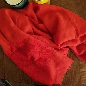 J Crew embroidered red scarf
